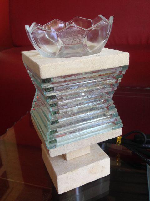 tungku aromaterapi elektrik batu alam model kaca mozaik