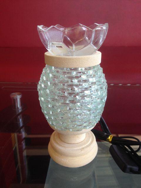 tungku aromaterapi elektrik batu alam model kaca oval